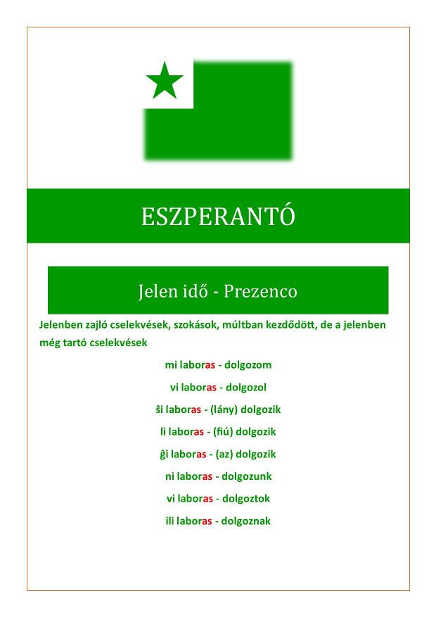 Eszperantó jelen idő összefoglalása