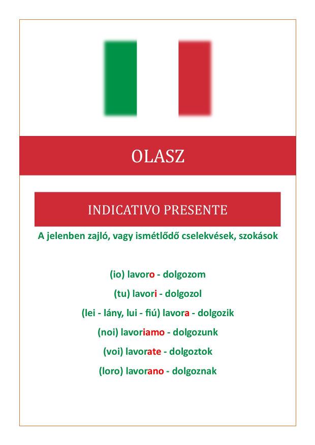Olasz jelen idő összefoglalása