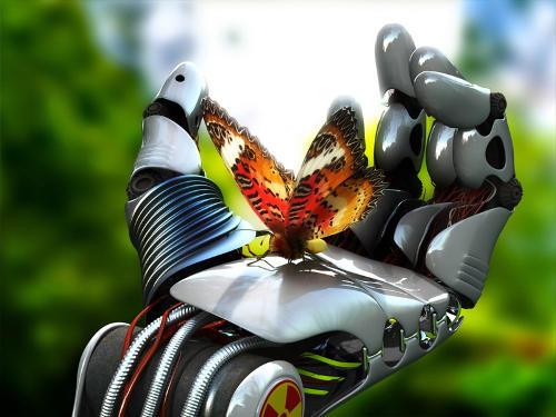 robot kéz tart egy pillangót